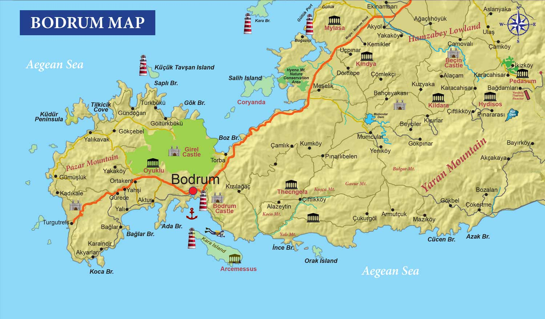 Tutku Tours Turkey Maps Archaeological Map Of Turkey Izmir Tourist Map Cesme Tourist Map Map Of Turkey S Southwestern Coastline Gulet Route Ancient City Plans Of Turkey