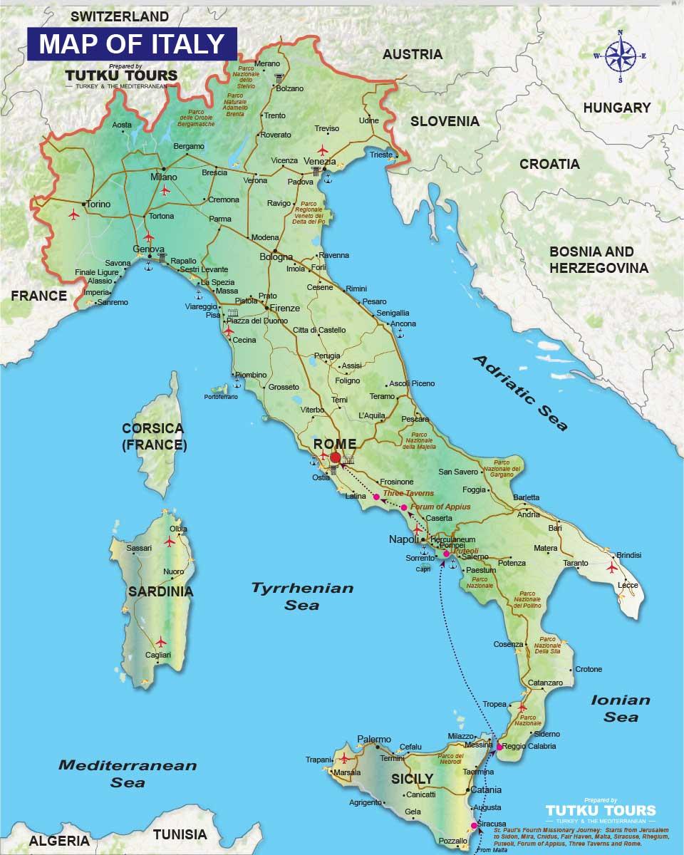 TUTKU TOURS ITALY MAPS