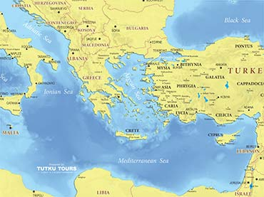 TUTKU TOURS - MEDITERRANEAN MAPS - Map of the Eastern Mediterranean ...