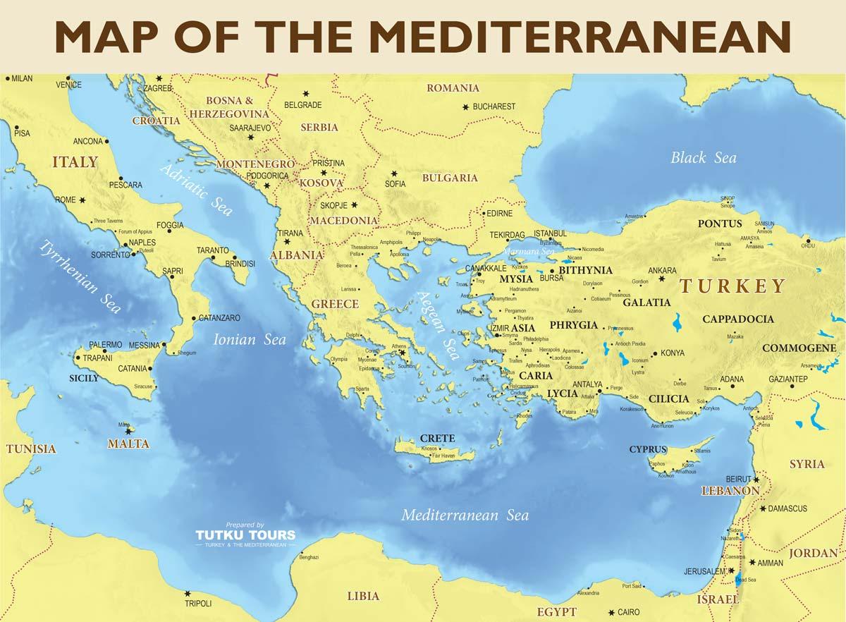 TUTKU TOURS - MEDITERRANEAN MAPS - Map of the Eastern ...